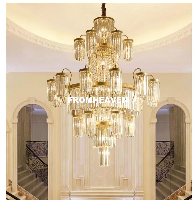Modern Crystal Chandeliers Lights Fixture Luxury American Golden - Indoor Lighting - Photo 2