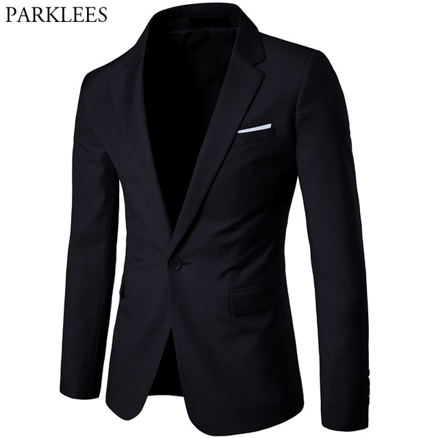 f1cee9e4ea Mens Black Slim Fit Suit Blazer 2018 Spring Autumn Single Breasted One  Button Suit Blazers Jacket for Business Man Costume Homme