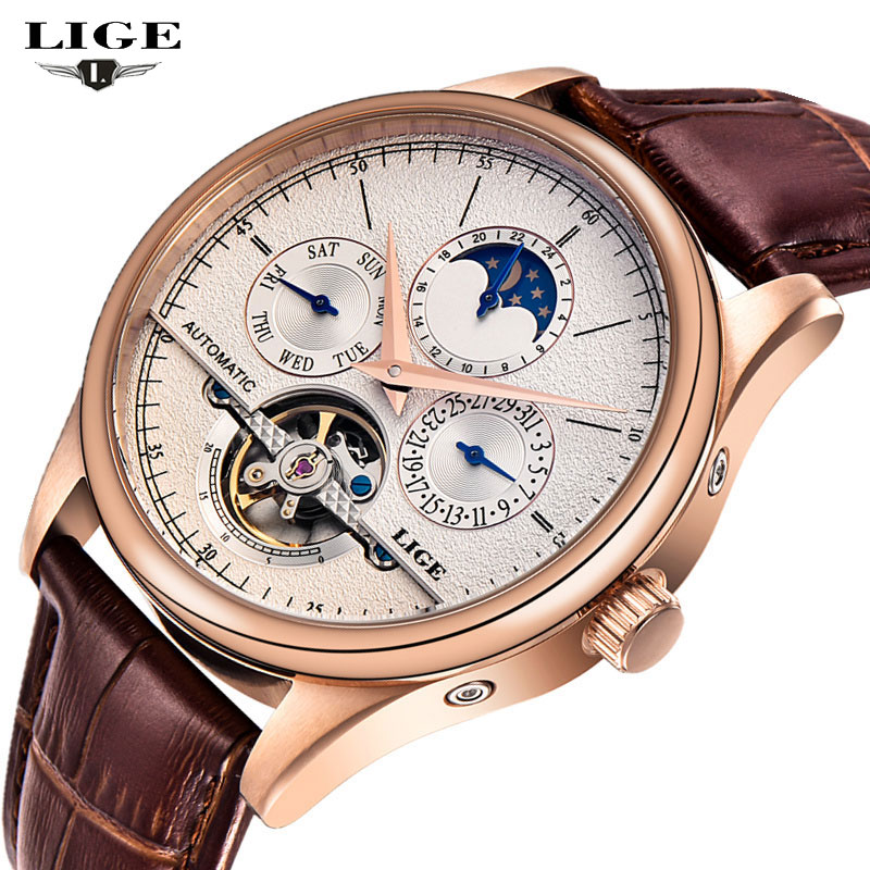 LIGE Mens Watches Top Brand Luxury Multifunction Men's Mechanical Watches High Quality Leather Strap Man Clock Relogio Masculino