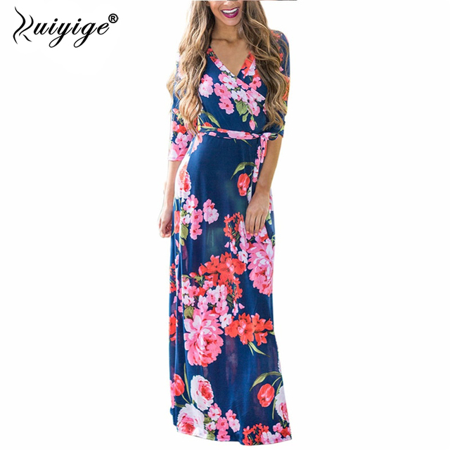 24a9558802 2018 women Bohemian style summer dress sexy sundresses V-Neck printed fit  and flare beach dress plus size soft milk silk robe