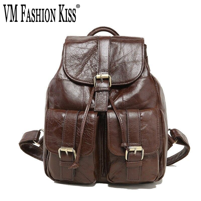 VM mode baiser sac à dos en cuir véritable femmes cordon & moraillon Vintage sac à dos huile cire cuir école sacs à dos Mochila Feminina