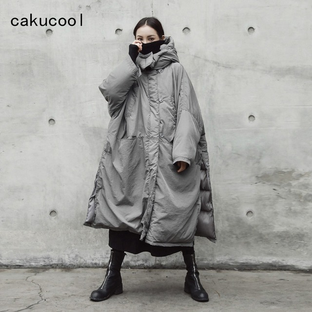 2a8546e2617c Cakucool Dark Black Women Winter Parka X-Long Cotton Liner Coat Loose Large  Wide Side Slit Thicken Parkas Outerwear Female