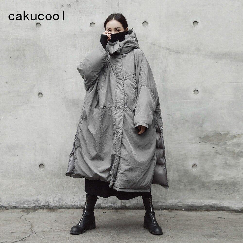 Cakucool 다크 블랙 여성 겨울 파카 x 롱 코튼 라이너 코트 느슨한 대형 와이드 사이드 슬릿 thicken parkas 겉옷 여성-에서파카부터 여성 의류 의  그룹 1