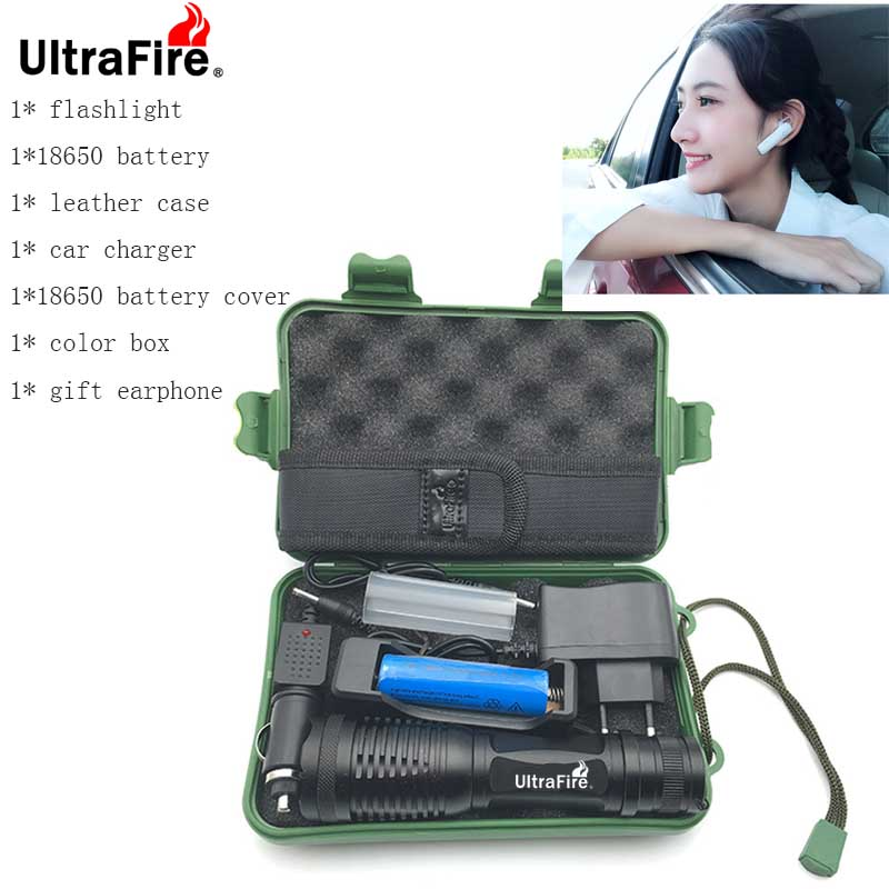 UltraFire LED Flashlight XM-LT6 9500LM 5 Mode Zoomab Torch Hunting Luz Flash Tactics 18650 Battery Flashlight + Gift Earphone