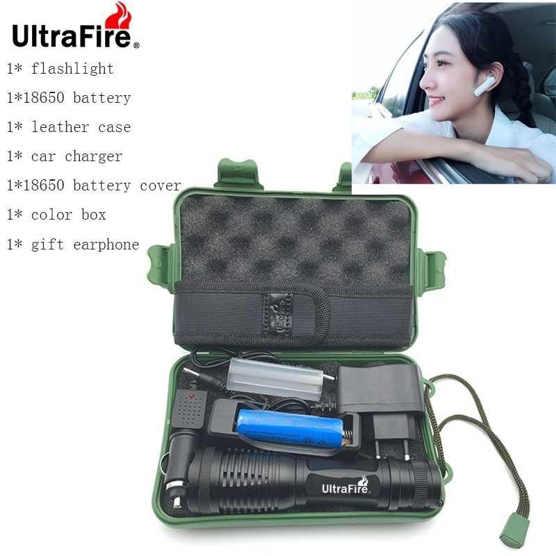 UltraFire LED lampe de Poche XM-LT6 9500LM 5 Mode Zoomab Torche Chasse luz flash tactiques 18650 batterie lampe de poche + cadeau écouteur