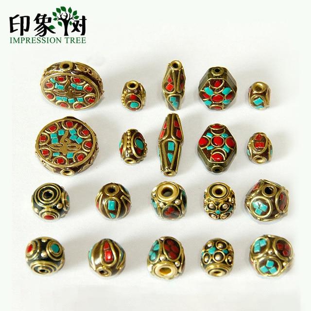 10 estilos Retro Nepal cuentas hecho a mano rojo Coral tibetano cuenta antigua dorada para hacer joyería pulseras DIY 1160