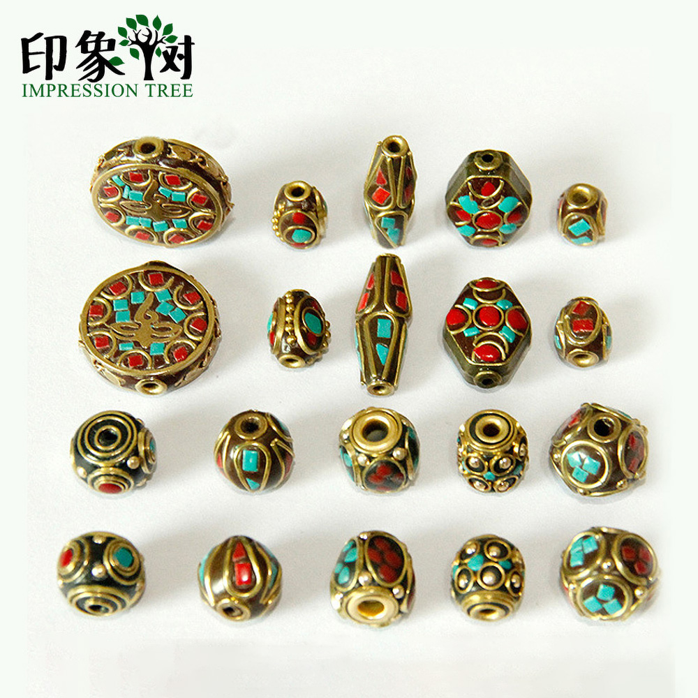 10 Stile Retro Nepal Perlen Handgemachte Rote Koralle Tibetischen Wulst Antike Goldene Für Schmuck, Die Diy Armbänder 1160