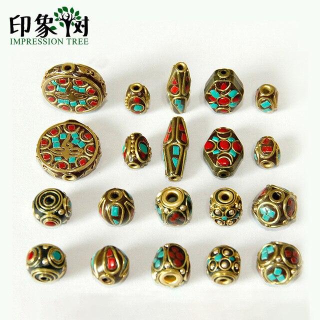 Retro Nepal cuentas hecho a mano rojo Coral tibetano cuenta antigua dorada para hacer joyería pulseras DIY 1160