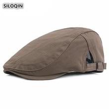 SILOQIN  Men Spring Autumn Cotton Berets Adjustable Simple Solid Color For Women Gorras Leisure Tourism Motion Tongue Cap