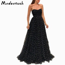 купить Modecrush Sexy Black Strapless Mesh Long Maxi Dress for Women 2019 Evening Party Banquet Dresses Ladies Foor-Length Bead Vestido по цене 1646.52 рублей