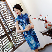 New Arrival Traditional Women Plus Size 3XL Qipao Lady Lace Sexy Short Printing Cheongsam Handmade Button Vintage Chinese Dress