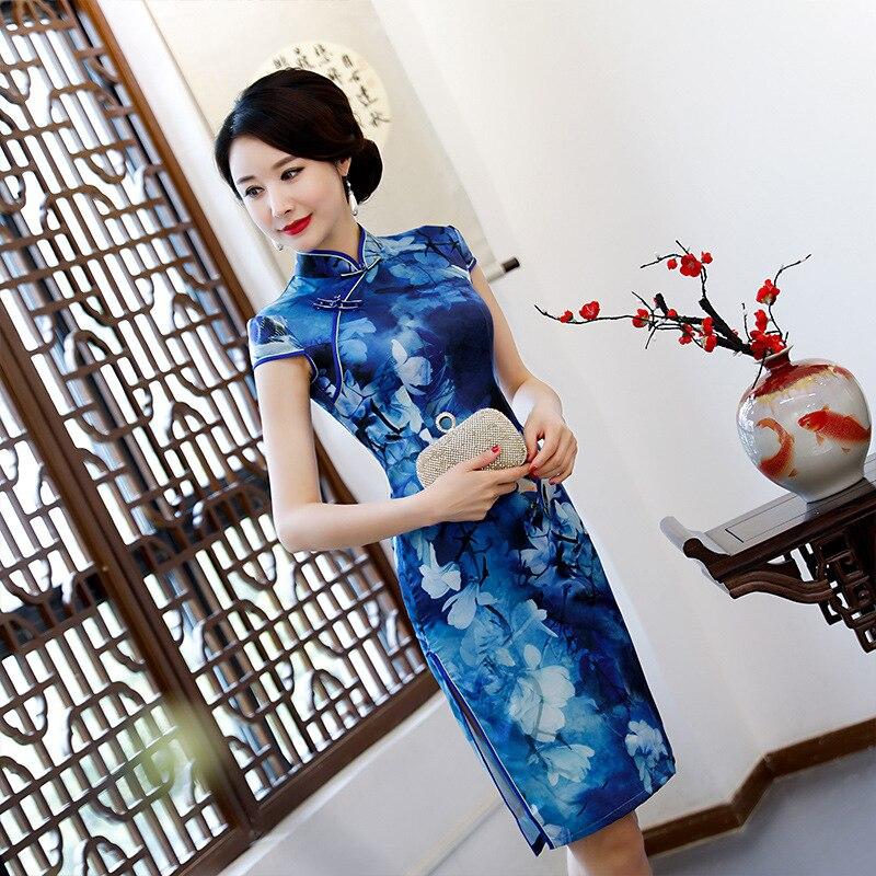 Nouveauté femmes traditionnelles grande taille 3XL Qipao dame dentelle Sexy impression courte Cheongsam bouton à la main Vintage robe chinoise