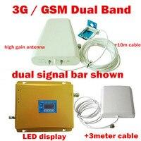 ЖК дисплей Дисплей сотовый телефон сигнал повторителя + Телевизионные антенны + кабель 3G WCDMA 2100 мГц + GSM 900 мГц Dual Band мобильный телефон усилите