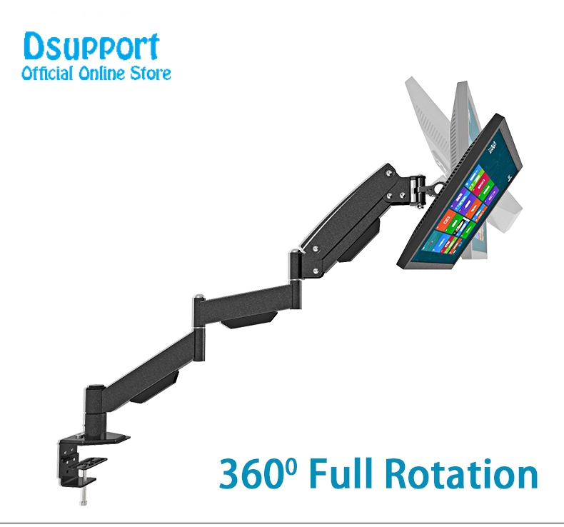 Gas Spring extra Long Arm 17-27 LCD Computer Monitor Holder Full Motion TV Mount Desktop Bracket nb f180 gas spring full motion 17 27 dual screen monitor holder desktop clamping or grommet tv mount with usb and audio port