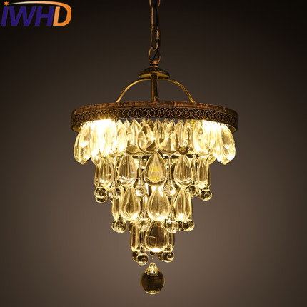 IWHD Crystal Vintage Pendant Lamp LED Style Loft Industrial Pendant Lights Iron Retro Hanglamp Lamparas Home Lighting Fixtures 2pc rustic loft style industrial vintage lamp dinning room retro pendant lights fixtures led edison home lighting lamparas