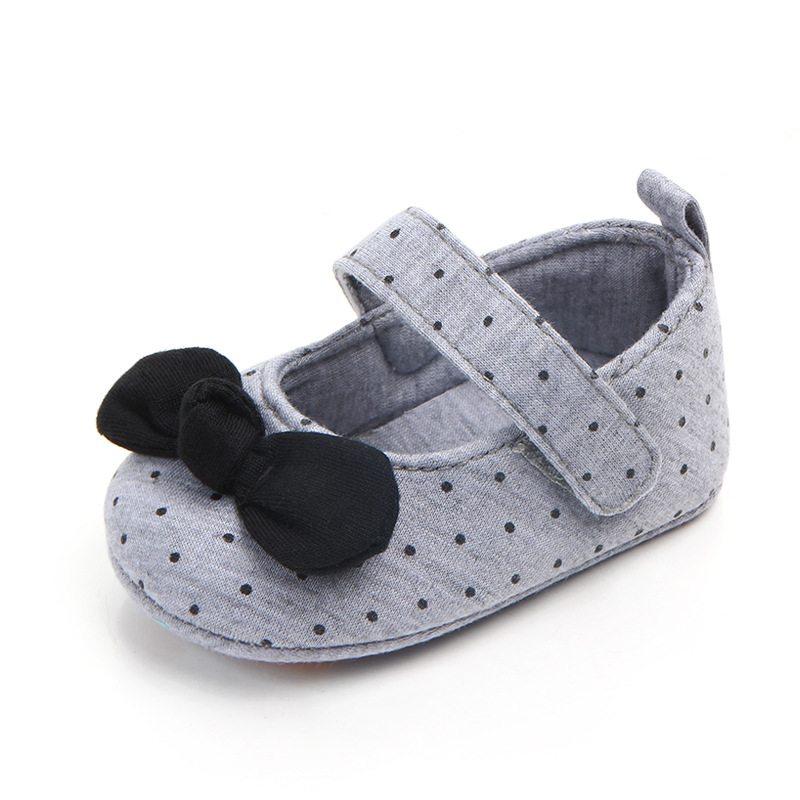 Cotton Baby Girls Shoes Infant First Walkers Toddler Girls Kid Princess Shoe Dot Bowknot Soft Anti Slip Crib Shoes Spring Autumn in First Walkers from Mother Kids