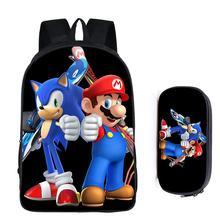 16 인치 음 Hedgehog 마리오 학교 가방 어린이를위한 소년 배낭 어린이 학교 세트 연필 가방 유아 Schoolbag