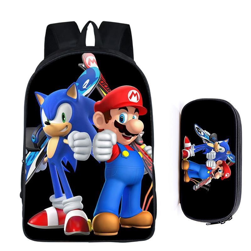 16 Inch Sonic The Hedgehog Mario School Bag For Kids Boy Backpack Children School Sets Pencil Bag Toddler Schoolbag