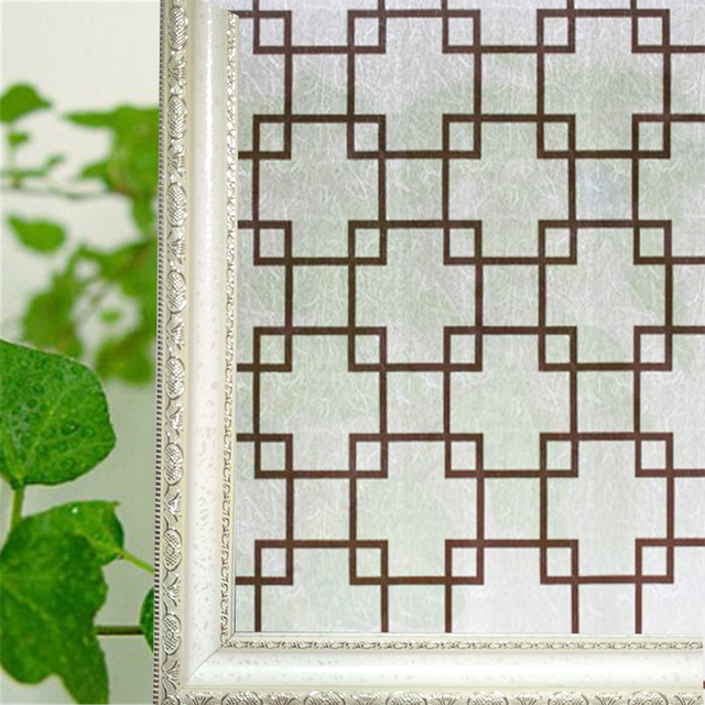 90*200 cm (35.4 x 78.8 in) retro grid frosted privacy window film ...