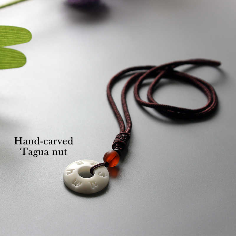Eastisan tybetański buddyjski ręcznie prosty łańcuch liny z OM Mantra znak Tagua Nut naszyjnik buddyzm biżuteria amulet
