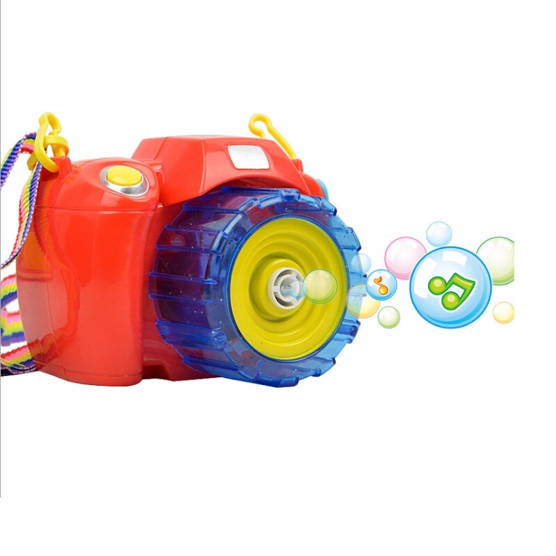 Red/Yellow Bubble Camera Toys Blowing Bubbles With Light Music Electric Bubble Gun Toy F ...