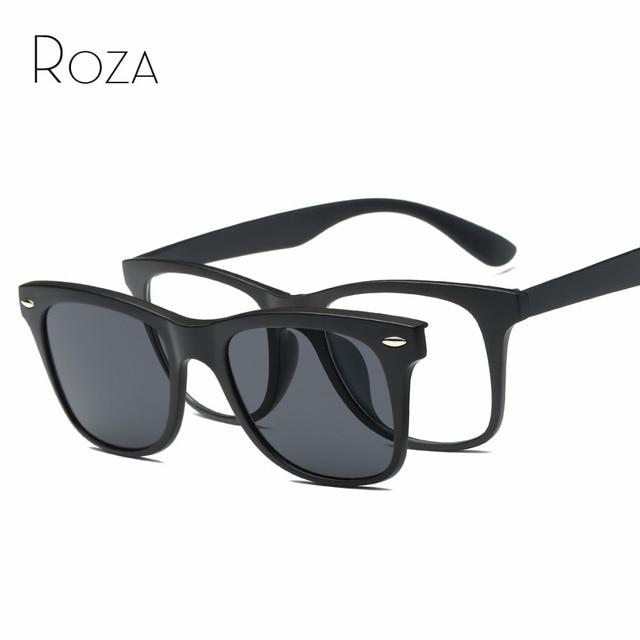 ROZA Magnetic Clip Polarized Sunglasses Mens Plastic Titanium Frame ...