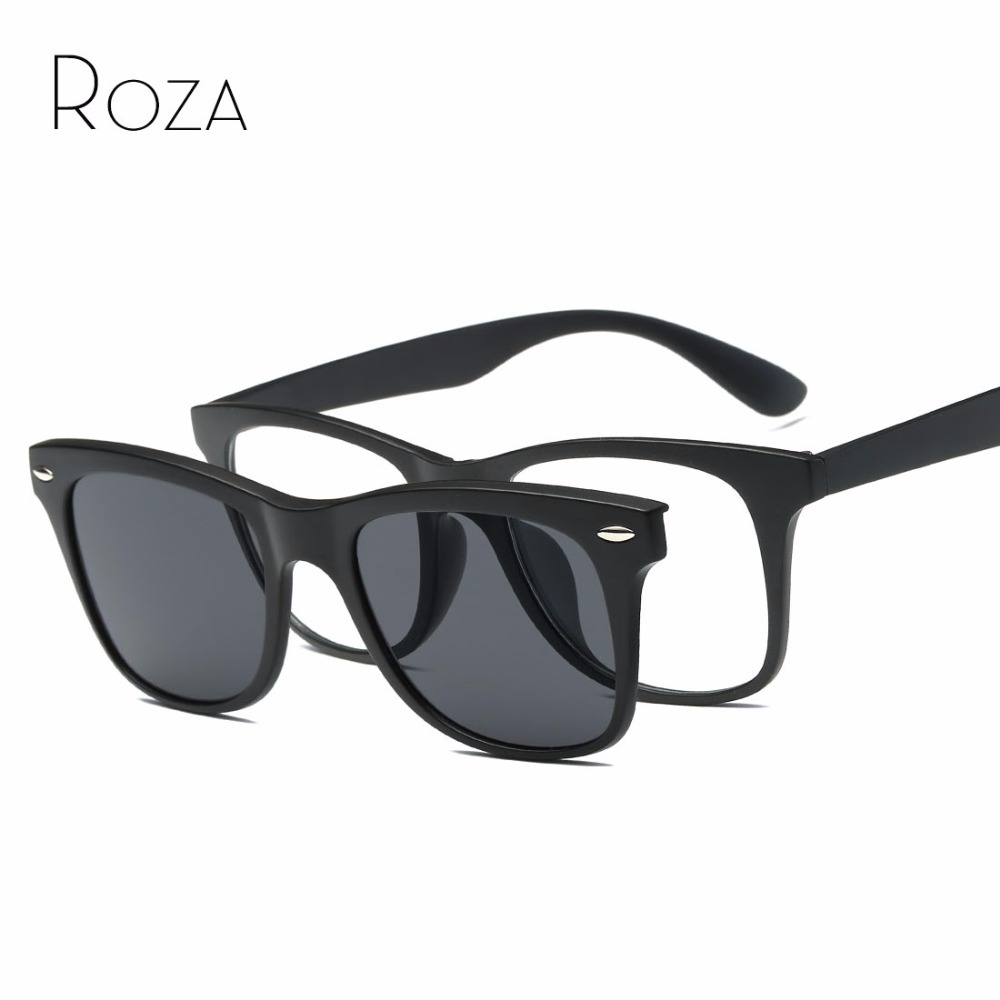 roza magnetic clip polarized sunglasses mens plastic titanium frame optiacal myopia unisex glasses uv400 qc0511