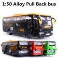 1:30 liga modelo de ônibus, Metal diecasts, Veículos de brinquedo, Puxar e piscando e música, Alta simulação de ônibus de turismo, Frete grátis