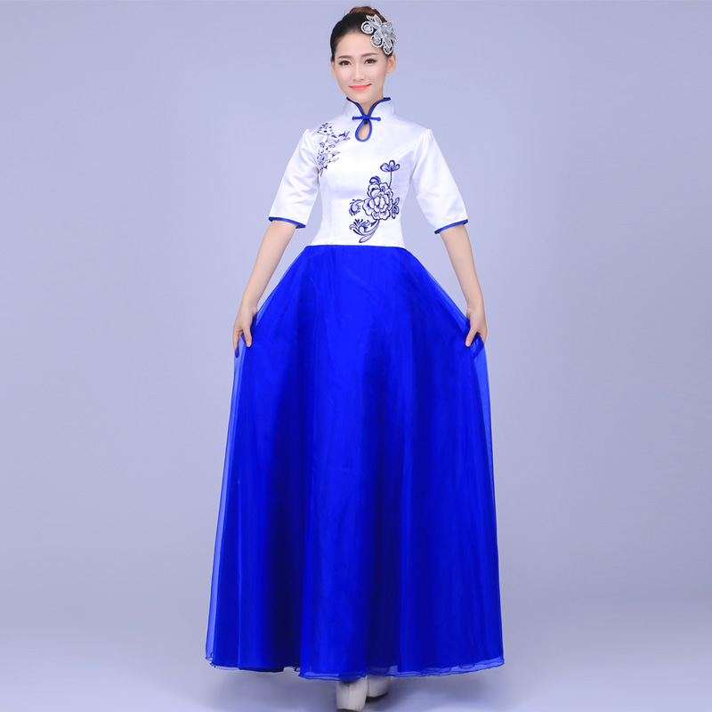 Chinese Wind Classical Dance Blue and White Porcelain Performance Clothing Fan Dance Costume National Adult Yangko Dress Women