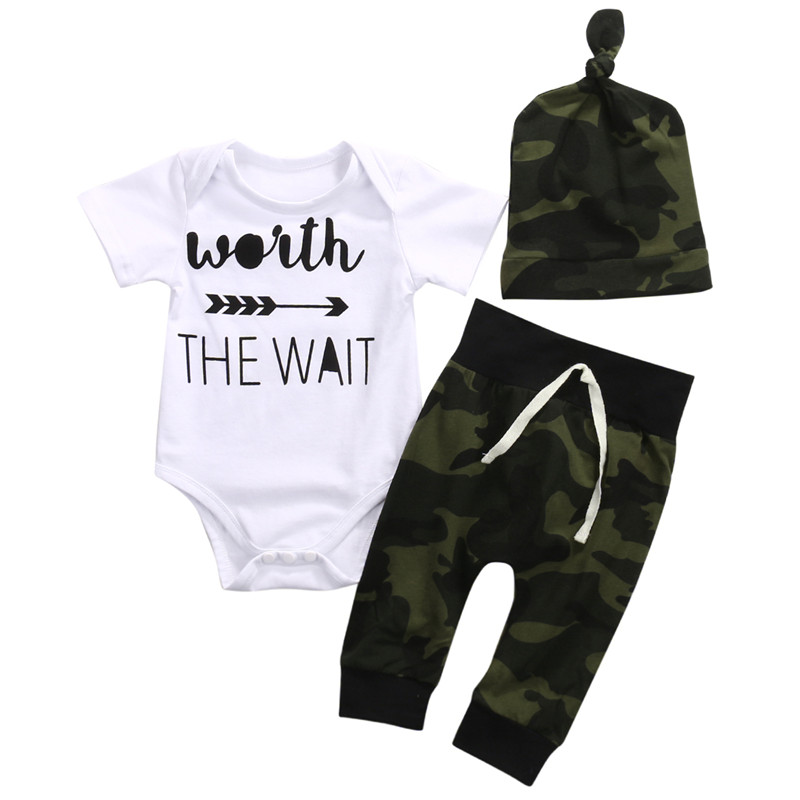a626cd54d 3PCS!! Newborn baby Boys Clothes Set Short Sleeve Arrow Romper+ ...