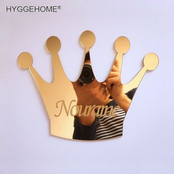 Custom Mirrored Crown Acrylic Mirror Sticker with Glue Customized Birthday Decoration GIft For Kid's DIY Room custom mirrored crown acrylic mirror sticker with glue customized birthday decoration gift for kid s diy room