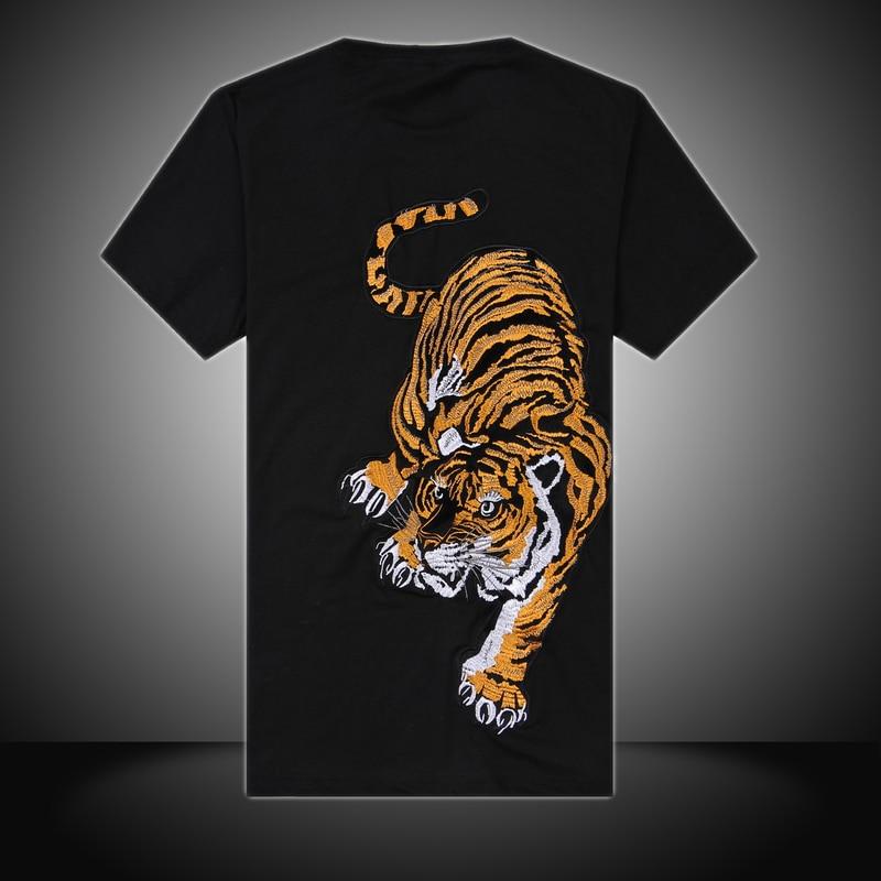 Большой размер китайский стиль вышивка тигр мужская футболка хлопка шею с коротким рукавом черный белый кунг-фу рубашки бесплатная доставка