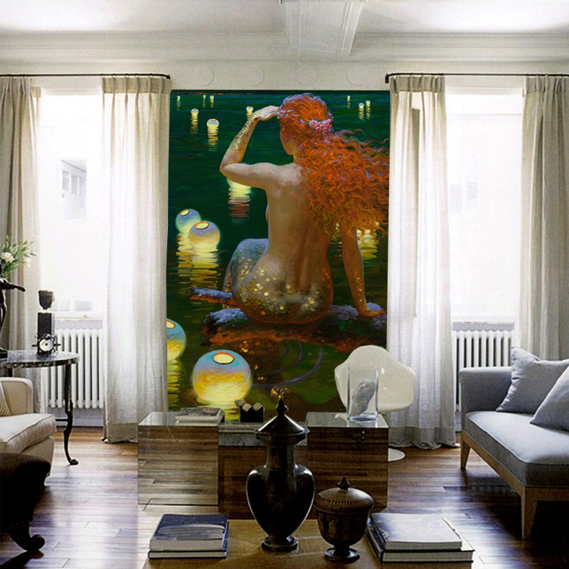 de pared de la sirena de encargo mural d papel tapiz para paredes ocano pintura al