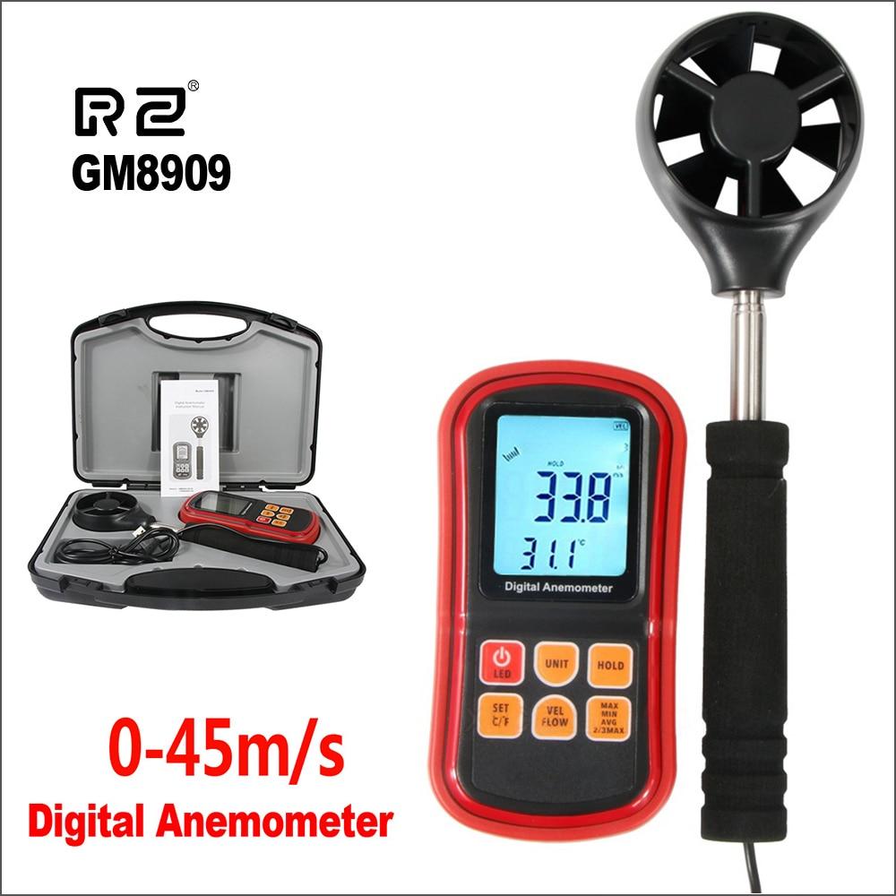 Anémomètre numérique RZ compteur de vitesse du vent anémomètre anémomètre 0 ~ 45 m/s capteur anémomètre à fil chaud GM8909