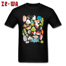 Kawaii Harajuku Sushi Bar Funny Cartoon T Shirts Women Men Design Pure Cotton Comic Tshirts High Quality Brand Tee Shirt On Sale