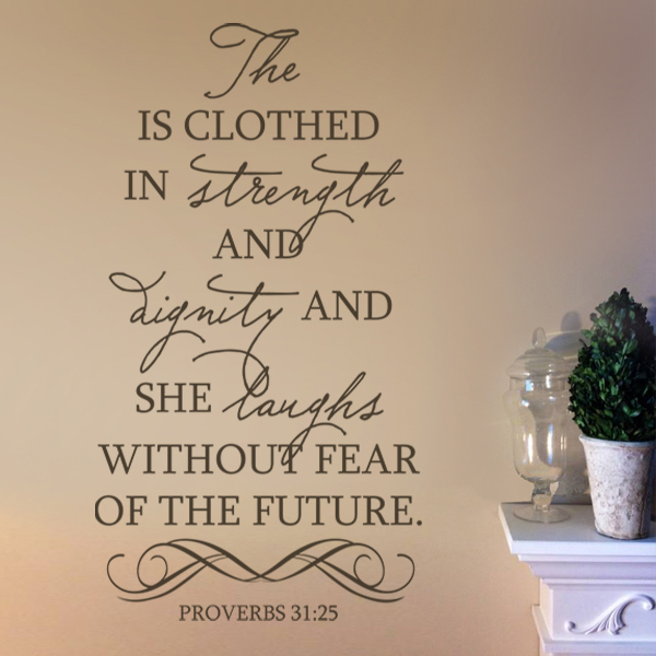 She Is Clothed With Strength And Dignity And She Laughs: Aliexpress.com : Buy Bible Wall Decal She Is Clothed In
