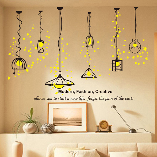 Hanging Lamp Wall Sticker Electric Light Vinyl Kitchen Dining Room Wall  Stickers Decor Removable Decals Wallpaper