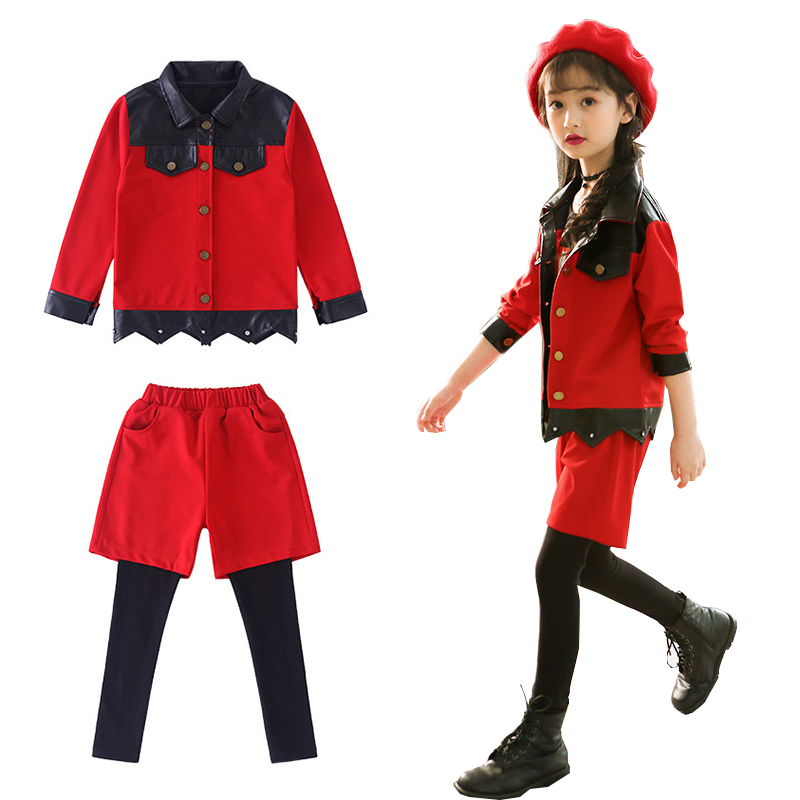 5 6 7 8 9 10 Year Girls Clothes Autumn Cotton Casual Children Clothing Set Long Sleeve Leather Jackets Leggings Baby Kids Suits girls clothes cotton casual children clothing set 2018 new long sleeve shirts striped leggings baby kids suits 3 4 5 6 7 8 years