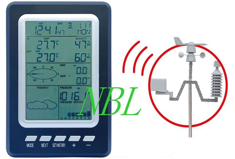 ФОТО Solar Wireless Weather Station In/Outdoor Thermometer Hygrometer Barometric Pressure WindSpeed Chill Weather Forecast Alarm