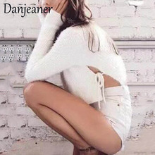 Danjeaner Autumn Winter Short Lace Up Pullovers Women Mohair Bow Tie Pullover Sweater Plus Size Sexy Streetwear Jumper Tops plus lace up jumper
