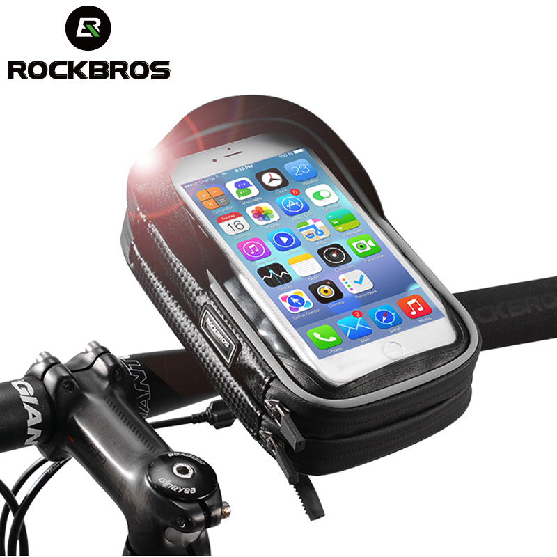 ROCKBROS Bicycle Bag 6 Inch Rainproof TPU Touch Screen Cell Bike Phone Bag Holder Cycling Handlebar Bags MTB Frame Pouch Case 2
