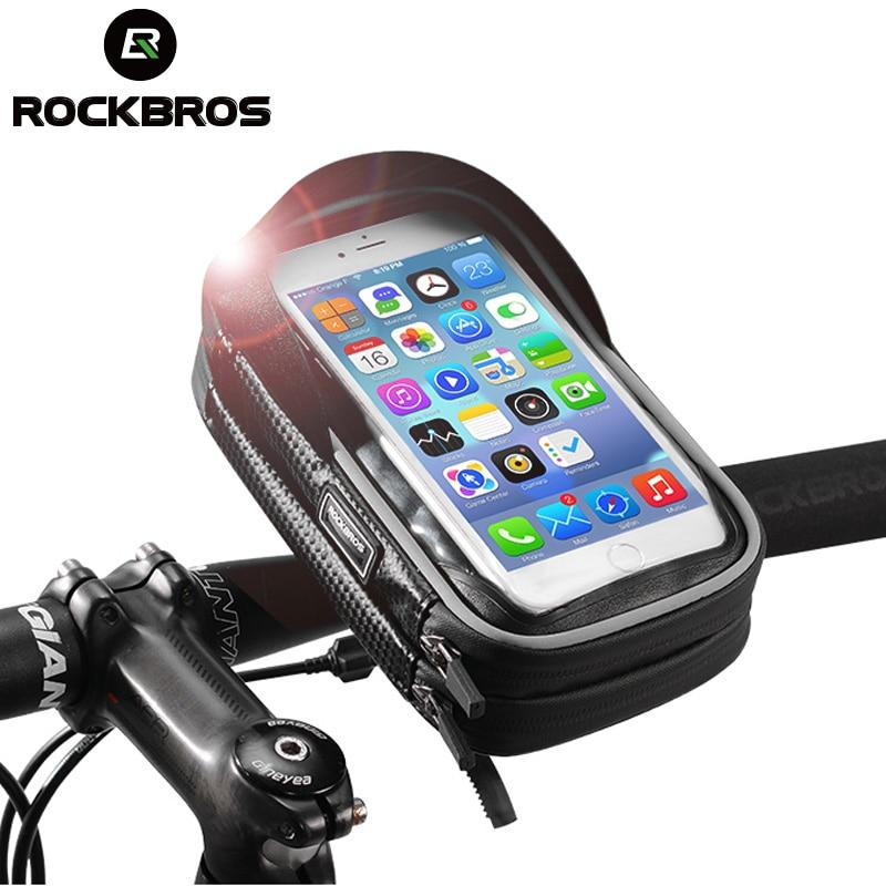 ROCKBROS Bicycle Bag 6 Inch Rainproof TPU Touch Screen Cell Bike Phone Bag Holder Cycling Handlebar Bags MTB Frame Pouch Case 2