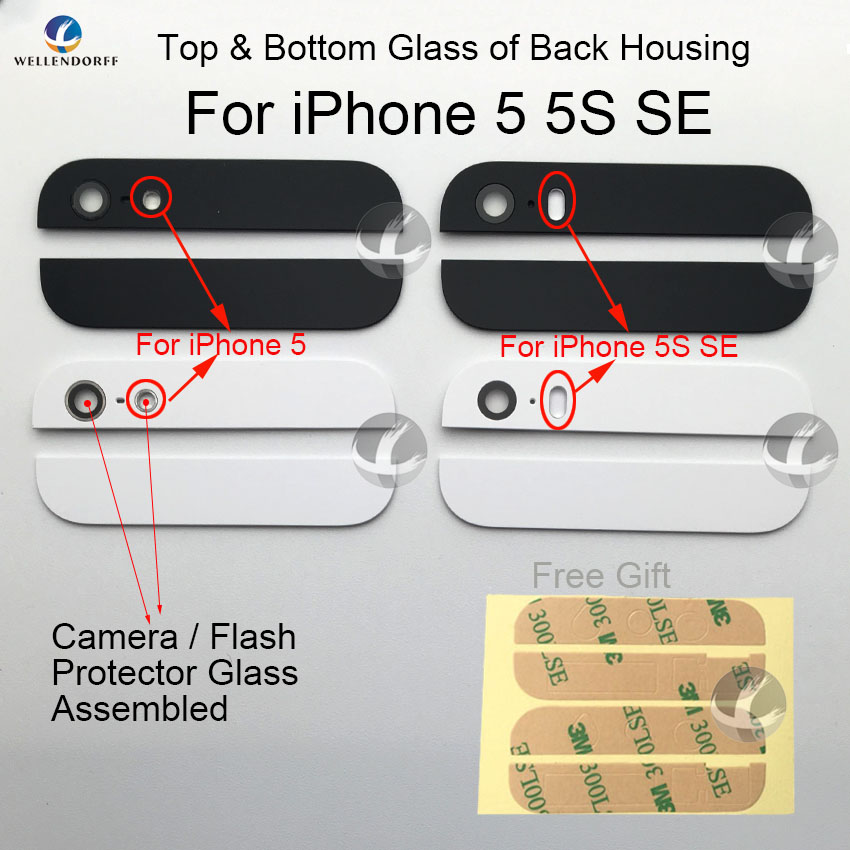 1Set Back Glass For IPhone 5 5S SE Back Housing Glass Top Bottom Replacement Parts With Camera Flash Lens Circle + 3M Sticker