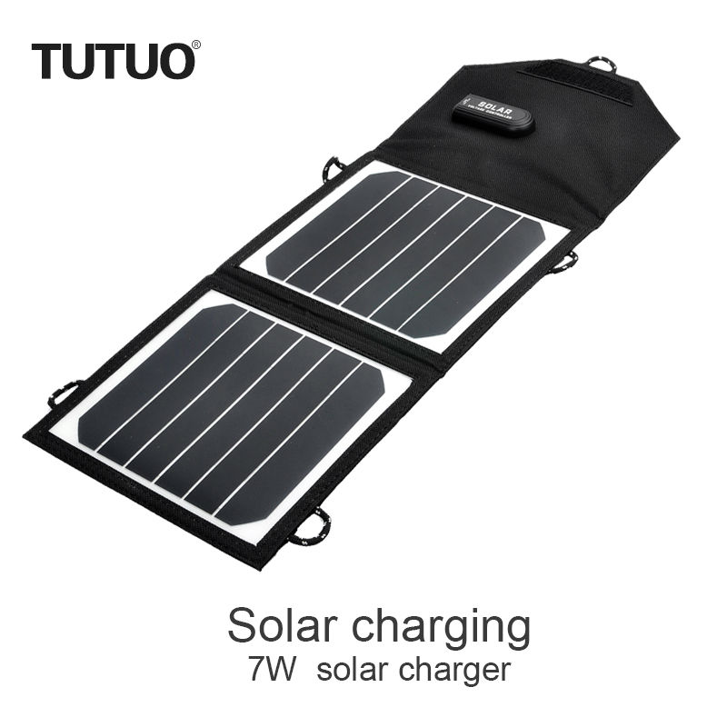 TUTUO 7W Portable Waterproof Outdoor Solar Panel USB Charge Folable for Mobile phone/Laptop/Tablet PC High Efficiency