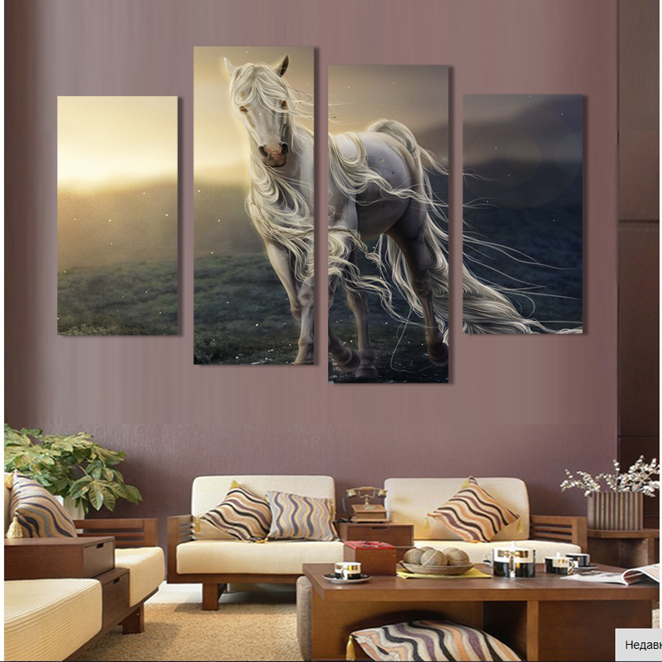 4 Panels Thin White Horse Print Canvas Painting For Living Room Wall Art Picture Gift Home