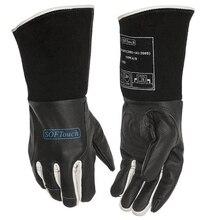 цена Black SOFTouch TIG MIG MMA Grain Cow Leather Welding Work Gloves онлайн в 2017 году