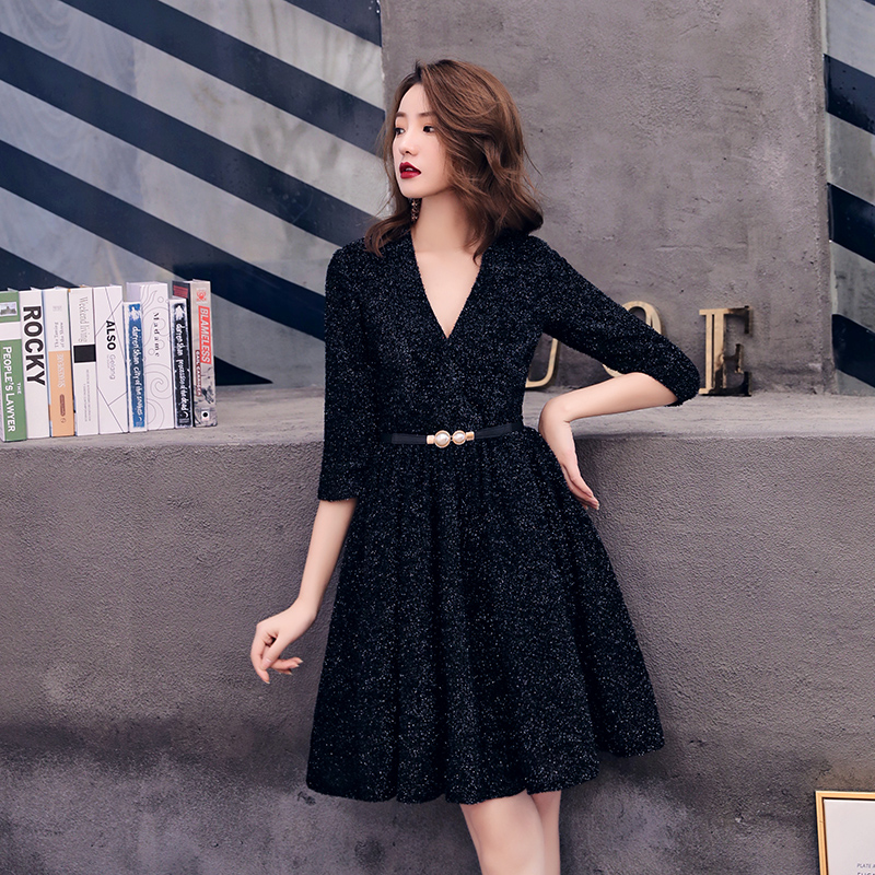 2019 Short Formal   Dresses   Sexy V Neck Half Sleeve Black   Cocktail     Dress   Short   Dress   Prom Party Gowns LF243
