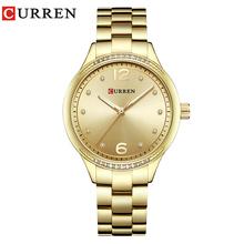 Curren kobiet mody zegarki luksusowe złota ze stali nierdzewnej kwarcowy zegarek panie sukienka biżuteria dla kobiet prezenty zegarki na rękę Saat tanie tanio QUARTZ STOP Składane bezpieczne zapięcie 3Bar Moda casual Odporne na wodę Odporna na wstrząsy CU-9003 10mm 20cm 38mm