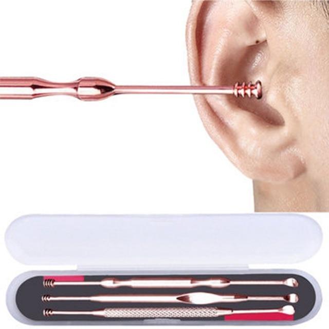 3Pcs/Set Stainless Steel Ear Pick Double-ended Earpick Ear Wax Curette Remover Ear Cleaner Spoon Spiral Ear Clean Tool #247721