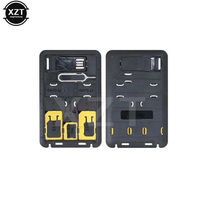 5 in 1 Universal Mini SIM Card Adapter Storage Box Kits For Nano Micro SIM Card Memory Card Protector Holder Reader Case Cover(China)